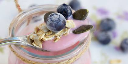 Probiotic yogurt garnished with granola and blueberries.