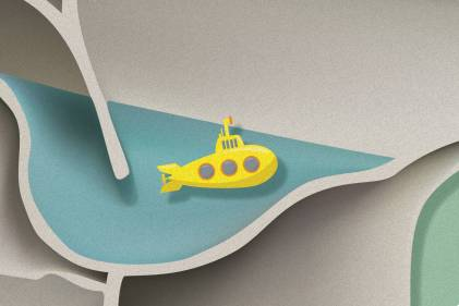 a submarine floating up to use its periscope in a toilet
