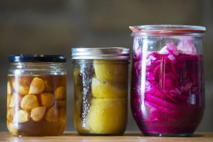 Fermented food in jars.
