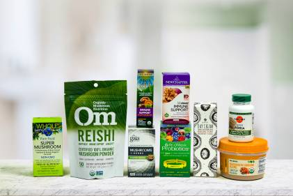 A selection of all natural supplements and body care products containing mushrooms
