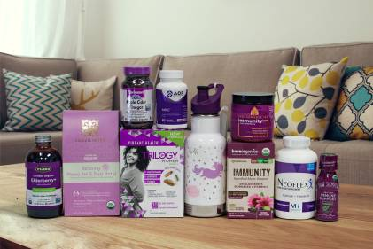 a selection of all-natural supplements and a canteen