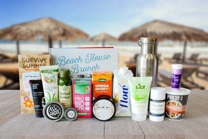 A variety of all-natural body care products, probiotics, foods, and swag
