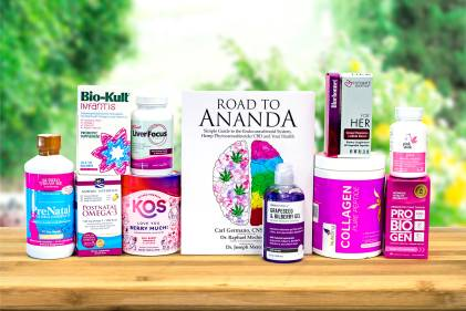 a bunch of natural supplements, purple and pink