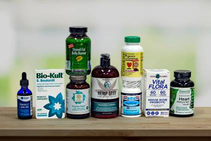 a selection of all-natural supplements and body care
