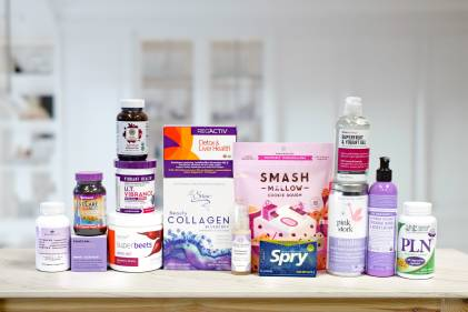 a collection of purple wellness products