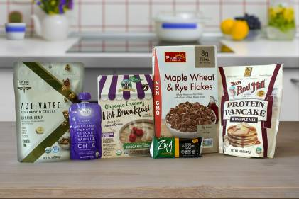 healthy cereals, pancake and waffle mix, a nutrition bar, and a smoothie