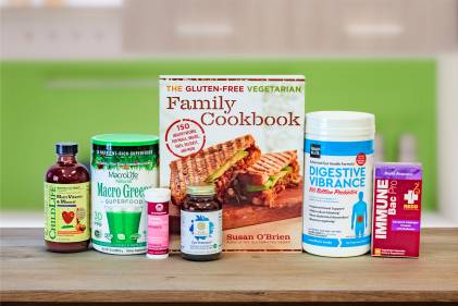 a selection of all-natural foods and supplements