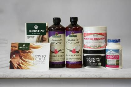 An assortment of all-natural hair care products