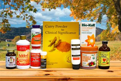 a selection of all-natural supplements, superfoods, and body-care products