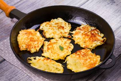 Sweet potato Latkes in frying pan.