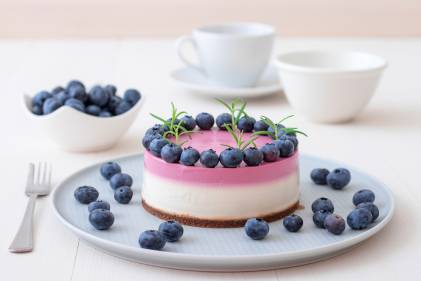 A blueberry cheesecake on a plate ready to serve.