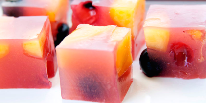 Cubes of kanten with delicious bits of fruit inside