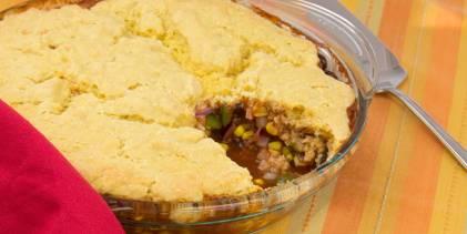 Chili Bean Cornbread Pie