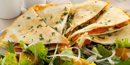 Pumpkin Spinach Quesadillas ready to be served.
