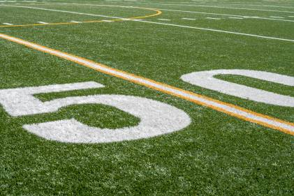 50 yard line on an American football field.