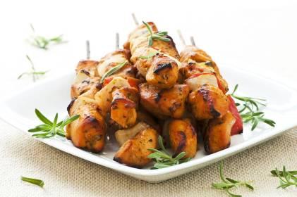 Caribbean marinated, grilled chicken skewer