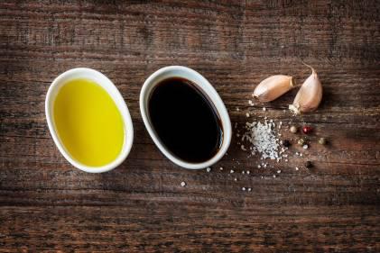 Olive oil, red wine vinegar, garlic, salt, and black pepper