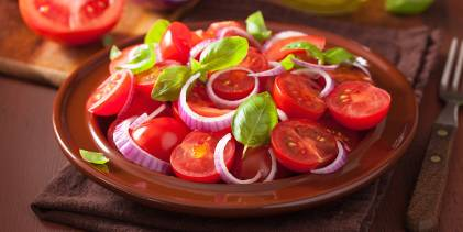 A plated tomato salad