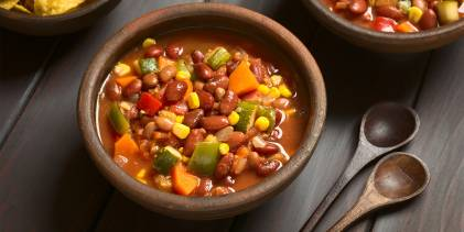 vegetarian chili with beans corn and more