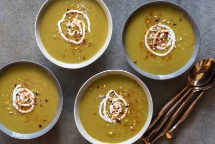 Four bowls of garnished Split Pea Soup.