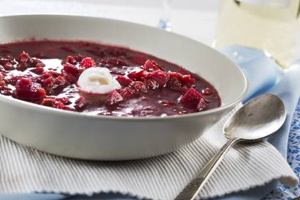 A cold bowl of traditional borscht