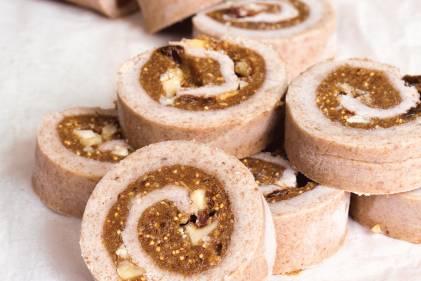 slices of raw cinnamon roll on a tea towel