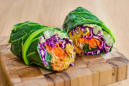prepared vegetables wrapped in collard greens