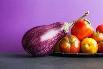 Eggplant and tomatoes.