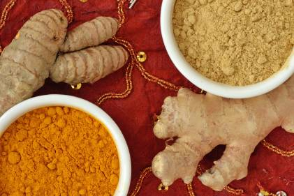 Powder and roots of turmeric and ginger on indian carpet background