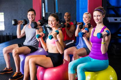 A young group of friends working out