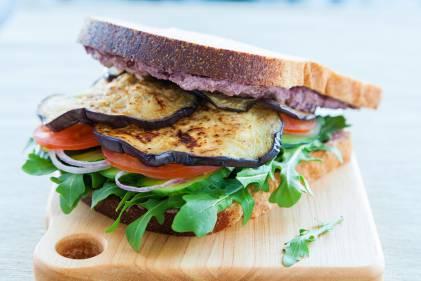 Eggplant, Pesto & Goat Cheese Sandwiches