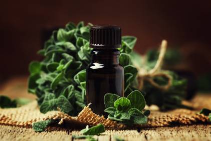 Sprigs of fresh oregano, and a dish of ground oregano.
