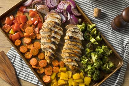 Homemade Keto Sheet Pan Chicken with Rainbow Vegetables.
