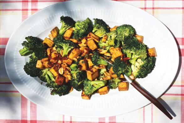 a plate of stir-fried tofu