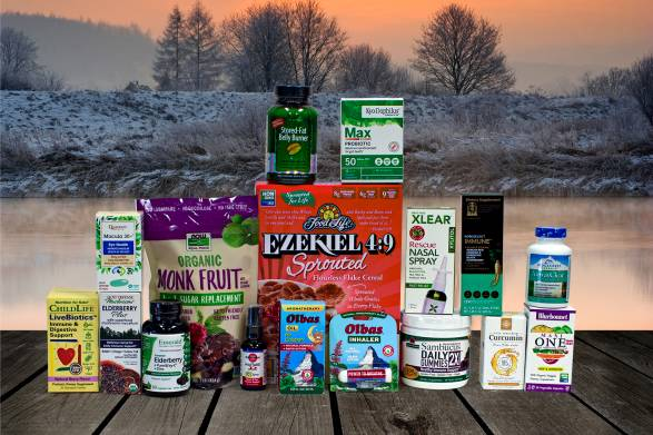 a selection of all-natural foods and supplements to help start a healthy year
