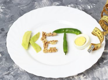 Keto spelled out on a white plate with Keto diet foods and a tape measure.