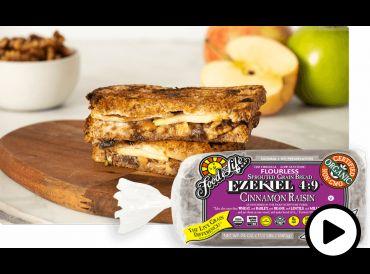sliced vegetarian paninis on cinnamon raisin bread